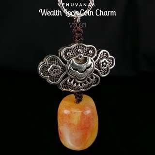 Wealth Lock Coin Charm Quartzite Crystal KeyChain-Quartzite Crystal works best in comforting us during the process of change. It gives energy hugs to warm us up just like the Sun.