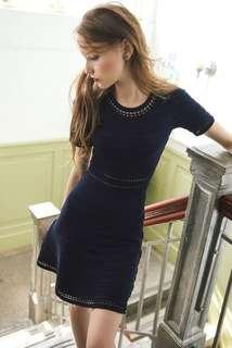 Genuine people navy blue knitted skater dress 👗 深藍色針織毛衣短袖冷裙連身裙