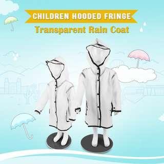 Children Hooded Fringe Transparent Rain Coat Rain suit Rain wear (TRANSPARENT) S