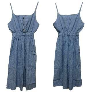 Korea striped dress with spaghetti straps 長身裙