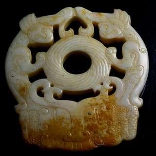 🚚 帶沁鏤空和闐饕餮紋玉珮 雙面雕工