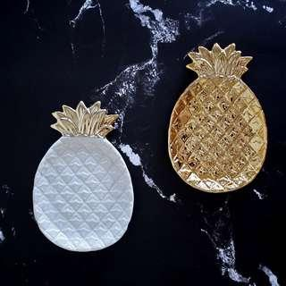 🚚 北歐ins金色葉子菠蘿陶瓷收納盤首飾盤置物碟擺件 預購