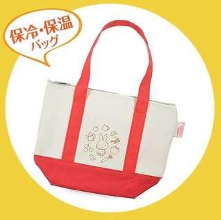 日本 miffy 兔子保溫包便當袋飯盒袋 拉鍊封口外置小袋 加厚鋁膜