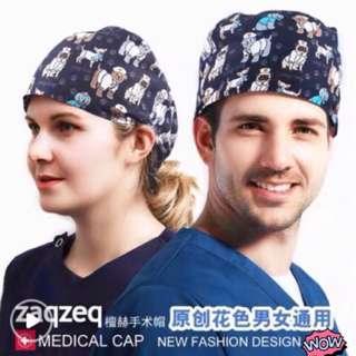可愛印花手術帽醫生護士牙醫美容婦產科寵物診所