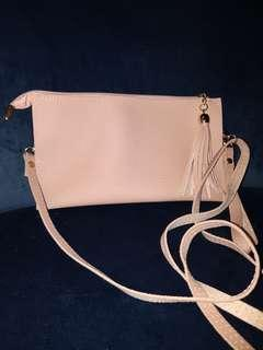Soft pink leather bag/clutch