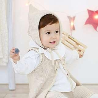 🚚 🌟INSTOCK🌟 Ivory Beige Keep Warm Elf Pointy Winter Knit Beanie Hat for Newborn Baby Toddler Boy and Girl Kids Hair Accessories