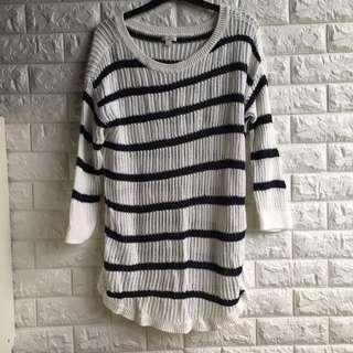 Striped Long fit knit sweater