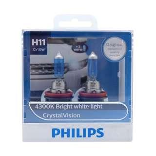 Philips Crystal Vision H11 Halogen Light Bulb For Sale! LTA Approved and Installation Available!