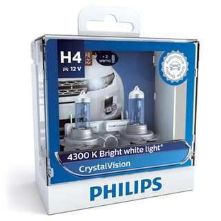 Philips H4 Crystal Vision 4300K Halogen Bulb. LTA Approved Installation Available!