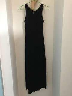H&M黑色無袖連身長裙