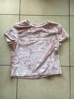 """H&M (Divided) """"Pass the tissues, we all got issues"""" baby pink velvet shirt"""