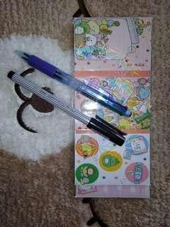 Sticky Notes and Post It Book + Pulpen Pipo 4 warna dan Ball Liner