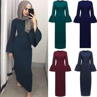Bell sleeve long dress