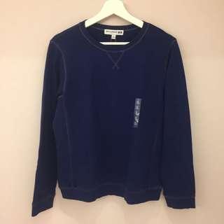 🚚 Uniqlo 深藍色紅色車縫線長袖衛衣XL