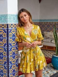 Kivari Saffron Bloom Wrap Mini Dress - Size M/10 BNWT RRP $160 Current Season!