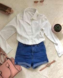Pearl Collared White Blouse
