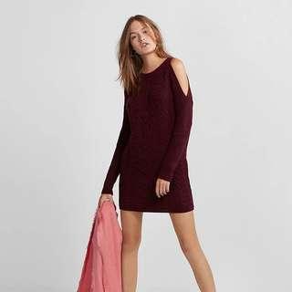 USA Express氣質鬆軟暖絨絞花露肩寬松修身顯瘦針織毛衣連身裙knitted skater dress A&F Abercrombie & Fitch AF Hollister HCO AEO