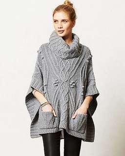 USA Express美麗溫柔優雅女人味羊毛混紡寬松粗針大披肩 吊牌價158USD jacket wrap scarf sweater kimono poncho A&F Abercrombie & Fitch AF Hollister HCO AEO