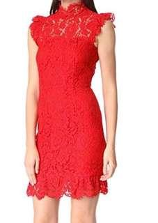 Aijek Into the Night red lace dress in size 2 CNY christmas