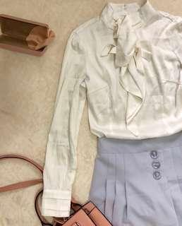 White silk flounced Blouse