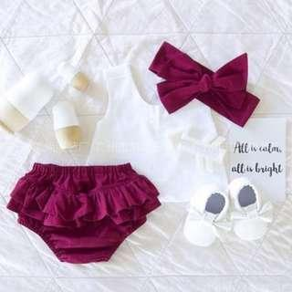 🚚 🌟INSTOCK🌟 3pc White Sexy Cotton Blouse Top with Maroon Red Bloomer Shorts and Ribbon Headband Set for Newborn Baby Toddler Girls Kids Children Clothes