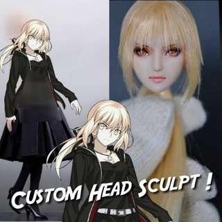 Custom Head Sculpt for 1/6 Phicen / TBLeague Body [Or Hottoys] (Fate Saber Alter Attila FGO Grand Order)