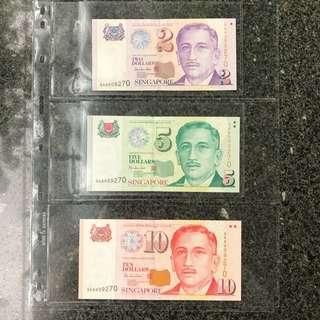 1999 Singapore $2,$5 & $10 Portrait Paper HTT Sign, First Prefix 0AA 009270 3 pcs Set Low Number, No Foxing Gem 💎 UNC