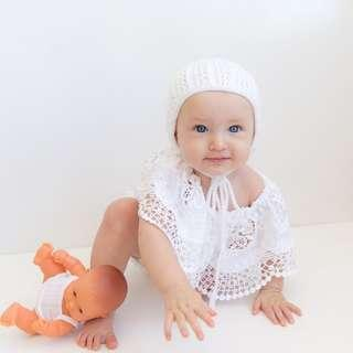 🚚 🌟INSTOCK🌟 Korean White Lace Droopy Collar Romper Onesie for Newborn Baby Toddler Girls Kids Children Clothes