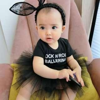 🚚 🌟INSTOCK🌟 Rock and Roll Frock Tulle Black Romper Dress for Newborn Baby Toddler Girls Kids Children Clothes