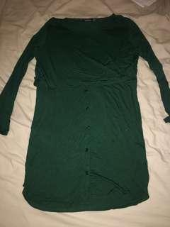 Boohoo long sleeve green dress size12
