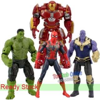 4 Pcs Avengers 17cm Hulk Thanos Hulkbuster Spiderman PVC Figure