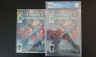 """Transformers #1,#1 CGC 9.2 (1984 1st Series) Set of 2- The Robots That Started It All! RETRO-DA-MAX! HOT-DA-MAX! """"One To Read & One To Keep"""" Series"""