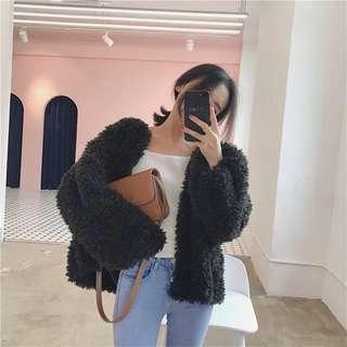 Black fluffy fur bell sleeves knitted jacket 黑色毛茸茸針織冷衫外套