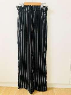 Striped, wide-legged pants