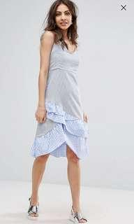 ASOS Gingham Print Ruffle Dress