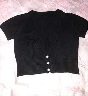 cardigan hitam knit allsize
