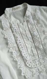 Massimo Dutti Eyelet Lace-Embellished Top