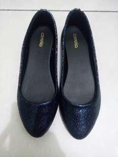 Sepatu / flatshoes cerelia glitter warna navy