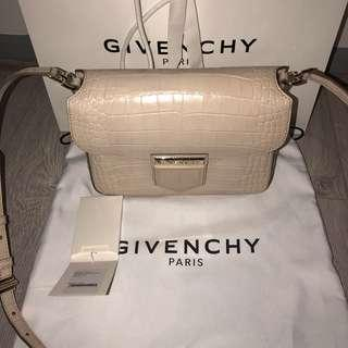 Givenchy nobile nude croc embossed leather cross body bag