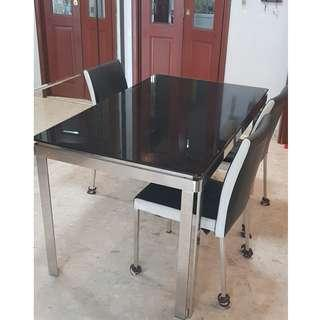 LORENZO Tempered Glass Modern Dining Table