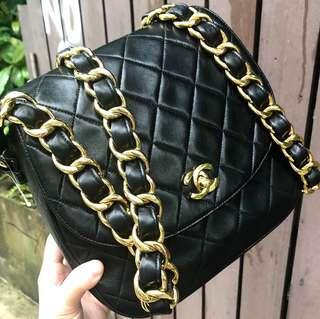 Authentic Chanel Avocado Chunky Chain Crossbody Lambskin Bag with 24k Gold Hardware