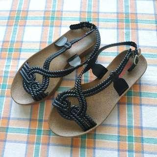 NEW! Black Flat Sandals.