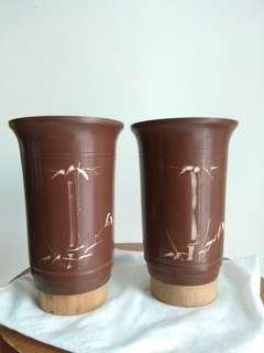 Vintage bonsai flower pot 古典紫砂有孔花瓶6寸or can be pen holder