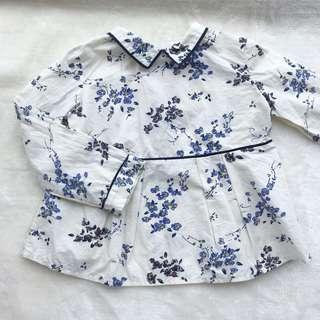 🚚 Bonpoint法國🇫🇷品牌 女童小藍花長袖上衣 🎈3碼 🎈正反衣領有污