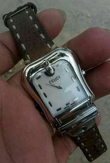 Fendi Watch Pearl Dial MEDIUM Leather Swiss Made AUTHENTIC
