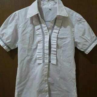 Preloved Kemeja Putih Polos Fit to L Mat Katun Tebal Import