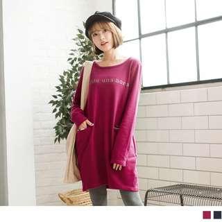 紫紅色字母燙印口袋綴格紋衛衣洋裝