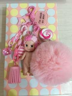 可愛天使娃娃吊飾(粉紅色)