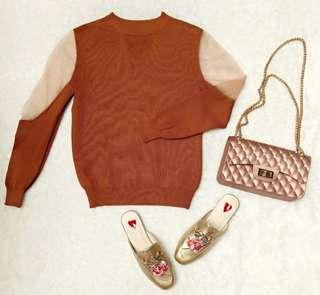 brown tulle blouse