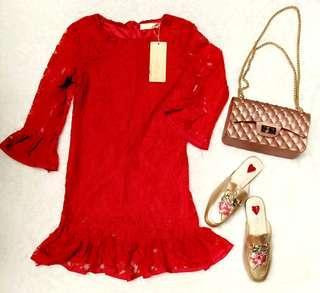 red peplum brukat blouse